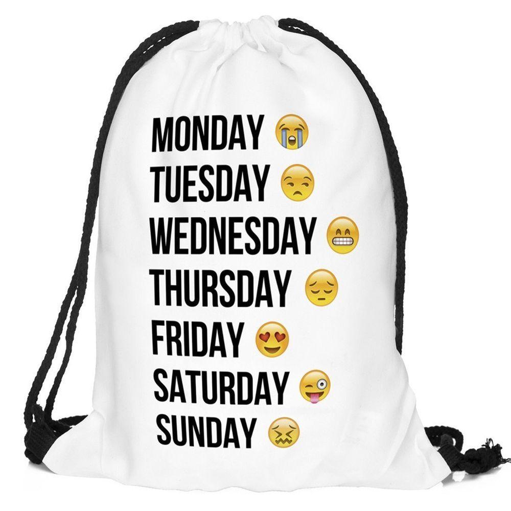 99093d5d80af Cute Drawstring College School Backpacks for Teen Girls with Emoji Printing   FloraMcqueen  Backpack