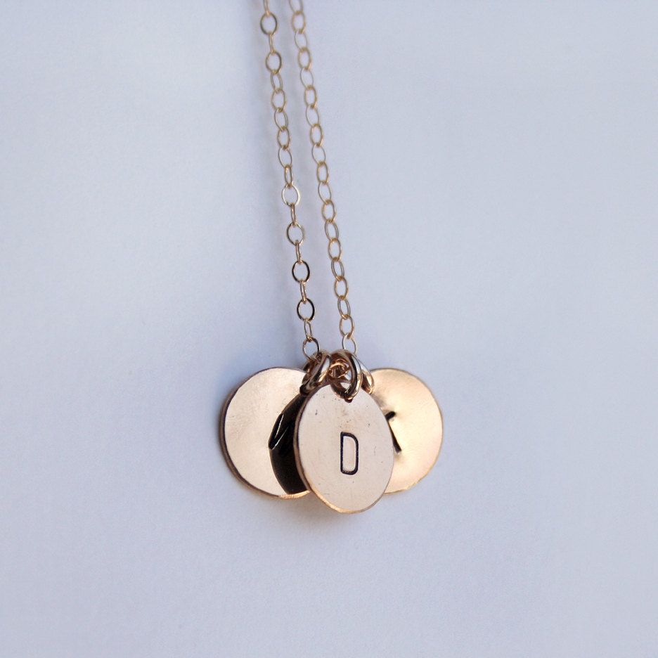 Personalized gold triple pendant necklace round initial charm