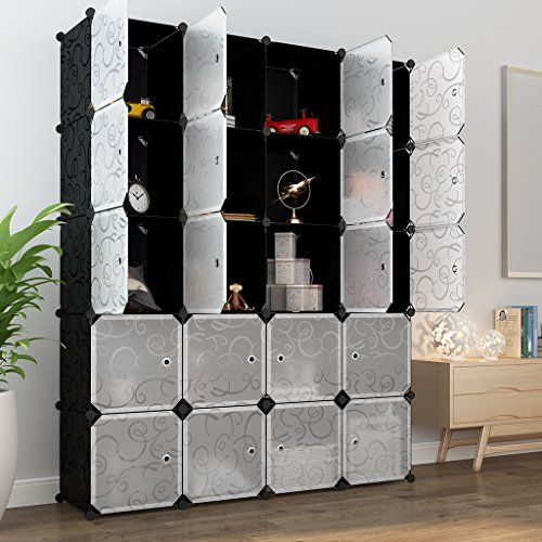 LANGRIA 20 Storage Cube Organizer Wardrobe Modular Closet Plastic Cabinet,  Cubby Shelving Storage Drawer Unit