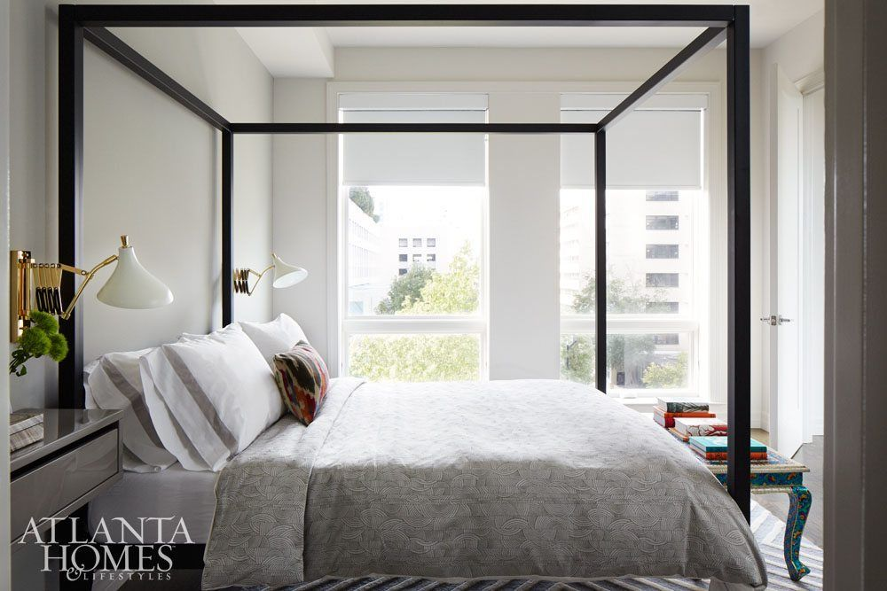 The serene guest bedroom was designed \u201cto create a sense that one is