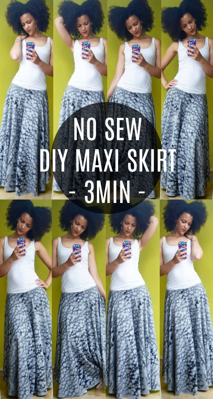 NO SEW DIY Maxi Skirt in 3min | Nähen, Freebooks und Nähideen