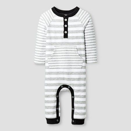 1062eb23425c Baby Boys  Long-Sleeve Stripe Romper Baby Cat   Jack™ - White Black ...
