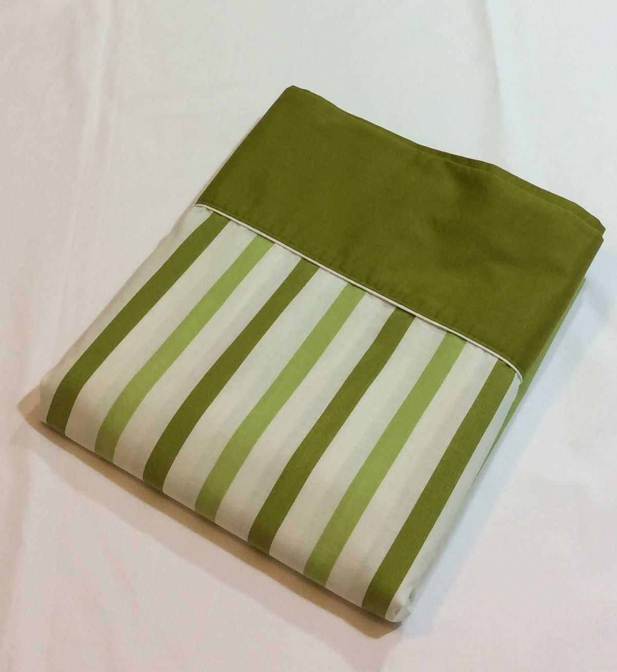 vintage cannon monticello no iron muslin green stripe full flat sheet by on etsy