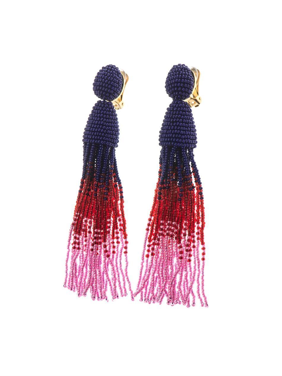 Oscar De La Renta Ombré bead tassel earrings