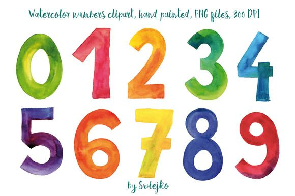 Watercolor Numbers Clip Art Lettering Human Logo Inspiration