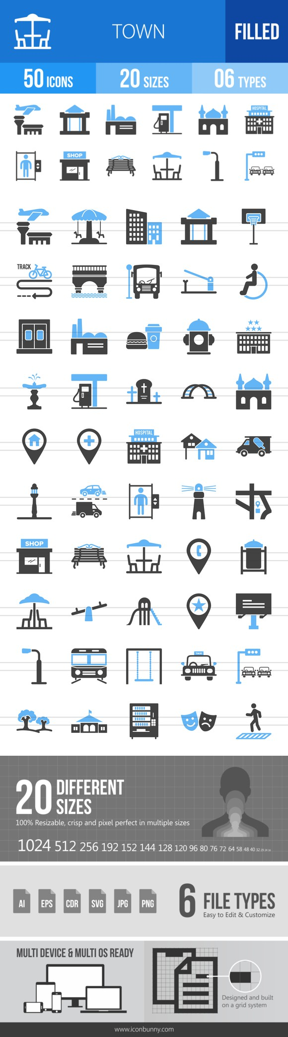 50 Town Blue & Black Icons. Icons. $9.00
