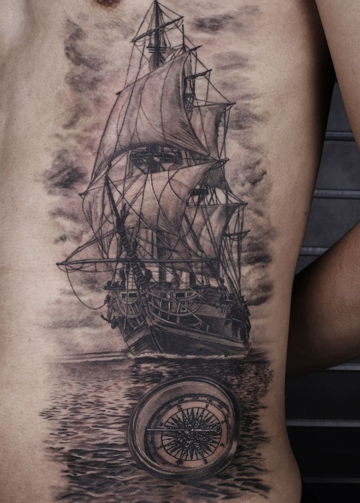 ship compass black and gey tattoo sleeve pinterest compass tattoo and ships. Black Bedroom Furniture Sets. Home Design Ideas