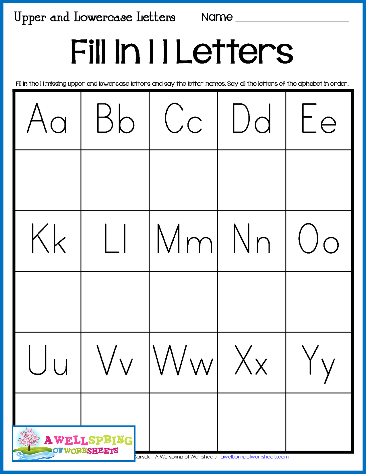 Fill In The Missing Alphabet Letters