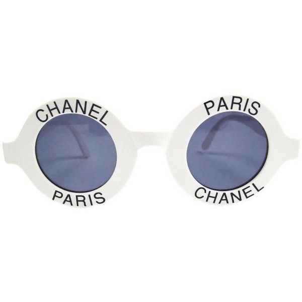 8bd3845d2da Preowned Chanel Most Wanted Sunglasses Round Paris Logo Vintage White...  ($3,599) ❤ liked on Polyvore featuring accessories, eyewear, sunglasses and  white