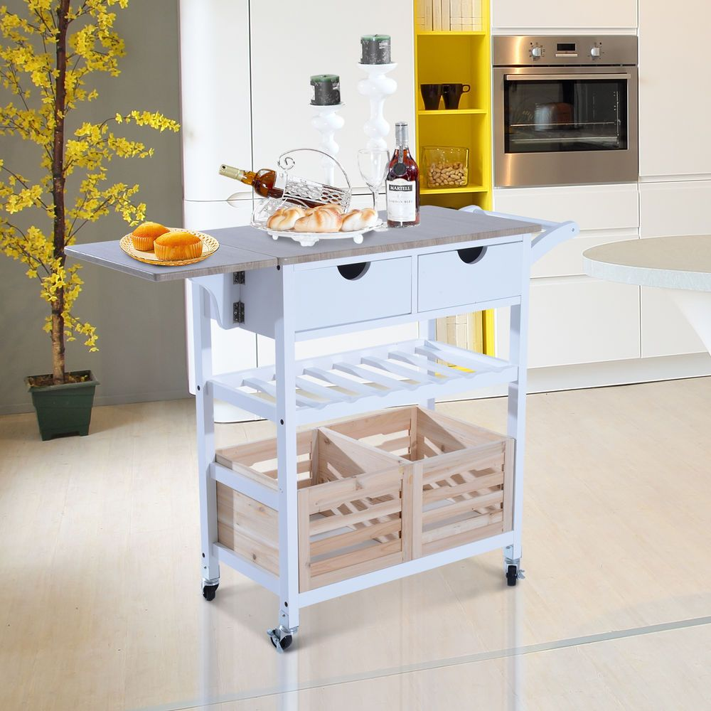 Kitchen Trolley Cart Drop Leaf Table Folding Dining Modern Rolling Wheels Basket Home Garden Bar Islands Carts