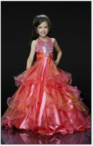 Beautiful Girl Kids Pageant Dress Party Princess Ball Gown Formal ...