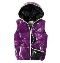 Moncler Down Vest Unisex Glossy Hooded Zip Purple
