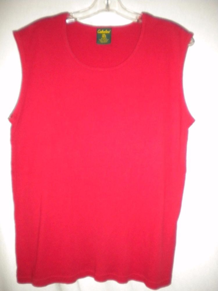 Cabela S Size 2xl Sleeveess Red Cotton Ribbed Womens Tank Top