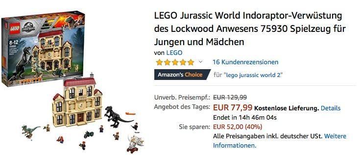 Lego 75930 Jurassic World Indoraptor Verwustung Des Lockwood Anwesens Lego Lego Spielzeug Und Spielzeug