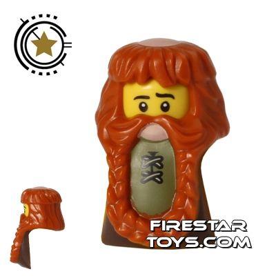 Braided with Hair in Back LEGO Dark Brown Beard Minifig
