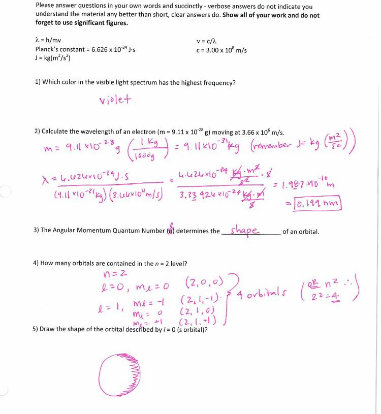 Chemistry worksheet Calculating wavelength / visible light/ Quantum ...