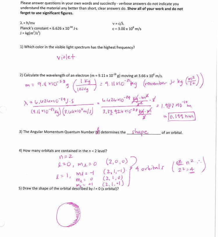Chemistry worksheet Calculating wavelength visible light – Quantum Number Worksheet
