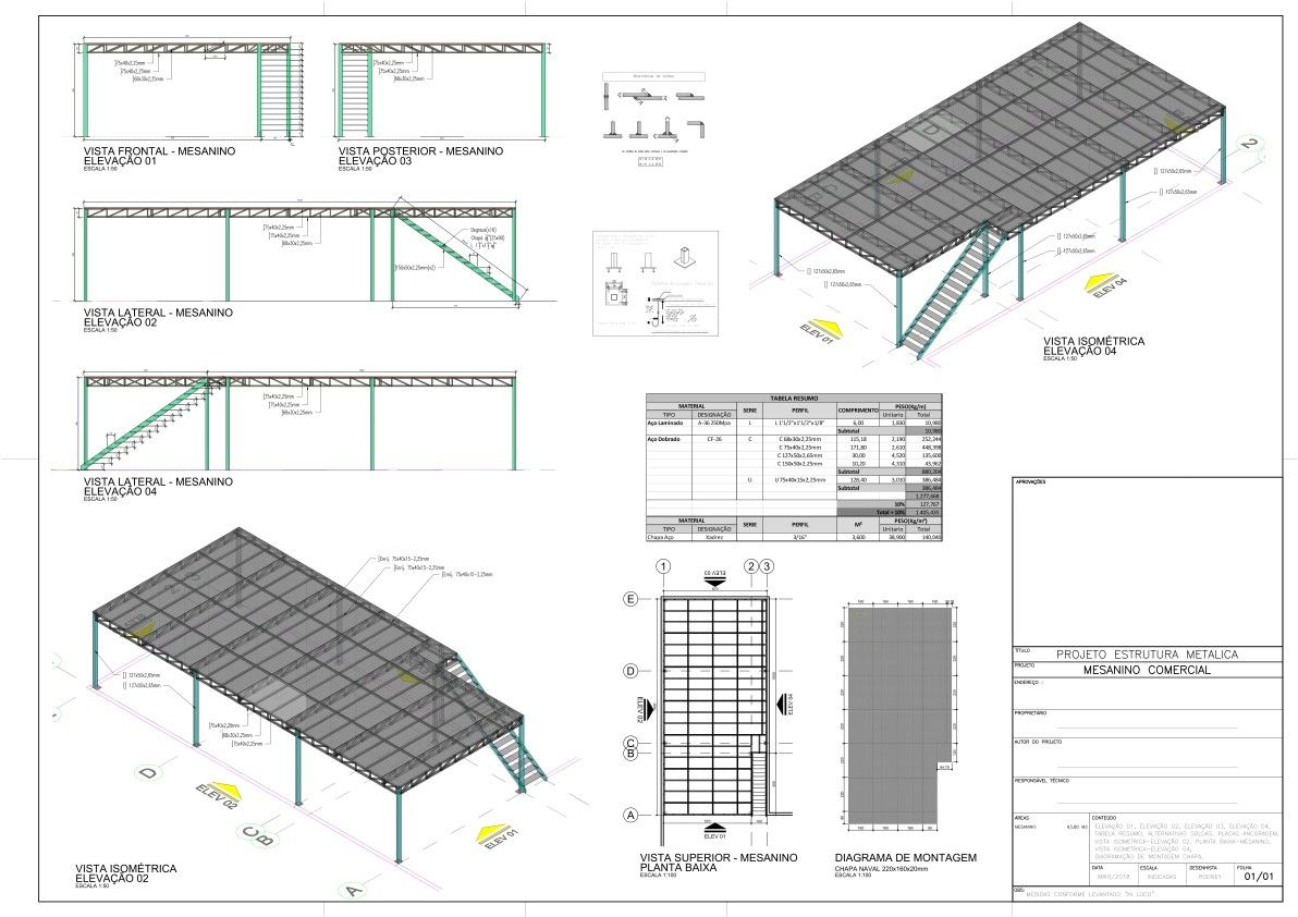 Projecto Estrutura Metalica Mezanino Estrutura Metalica