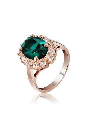 Italina Rose Gold Crystal Finger Ring Emerald Wine Red Women Jewelry