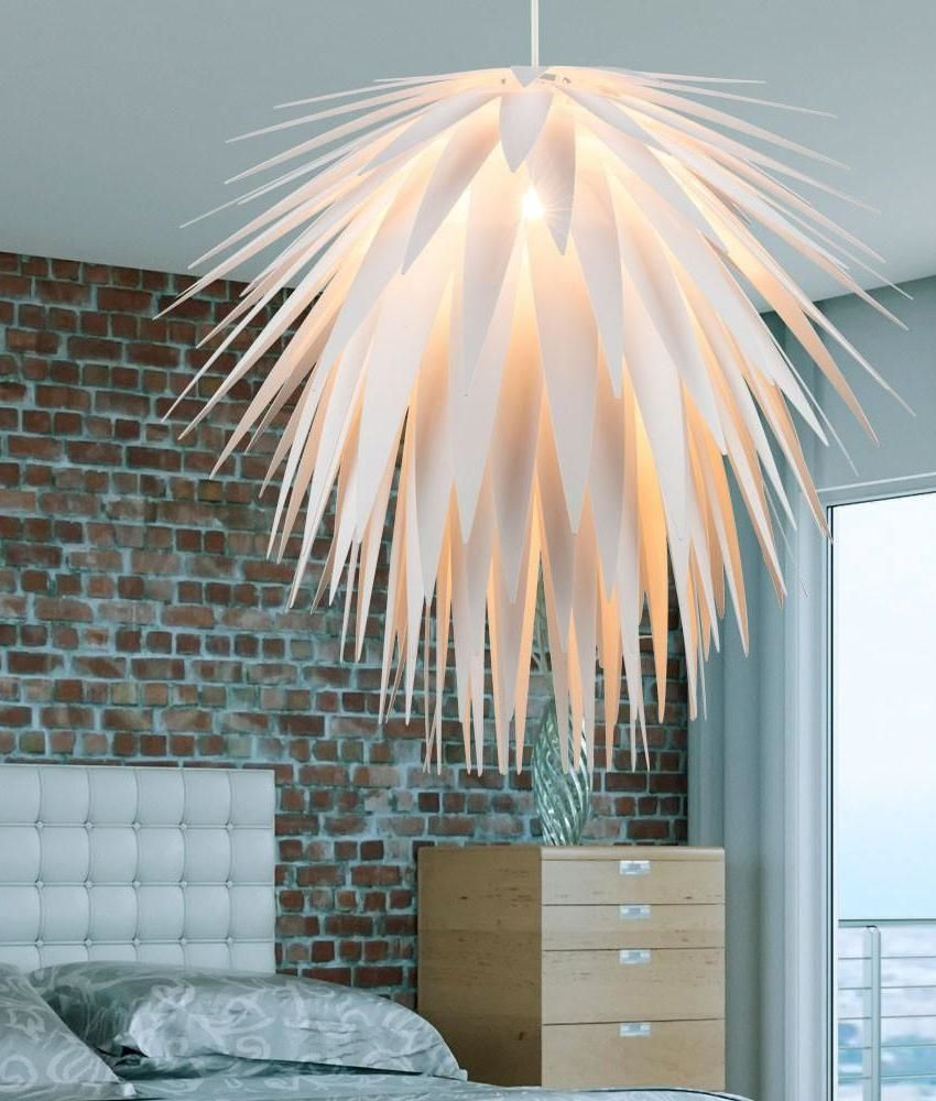 White Cordyline Spiked Light Fixture - A Large Pendant For Modern ...