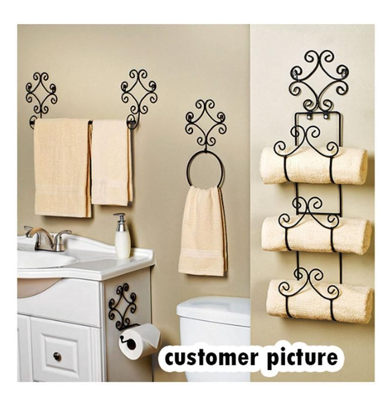 Iron Bathroom Set of4 pc Scroll Bath Set Hand Forged Wrought | Etsy