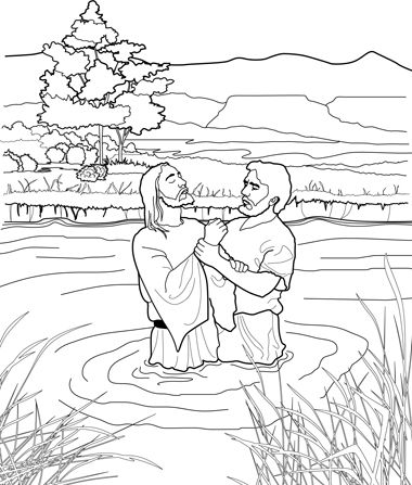 A Black And White Line Drawing Depicting John The Baptist