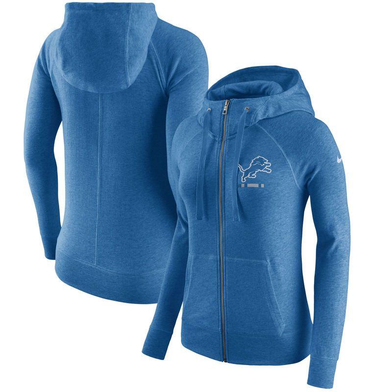0747095996f5 Detroit Lions Nike Women s Gym Vintage Full-Zip Hoodie - Blue ...