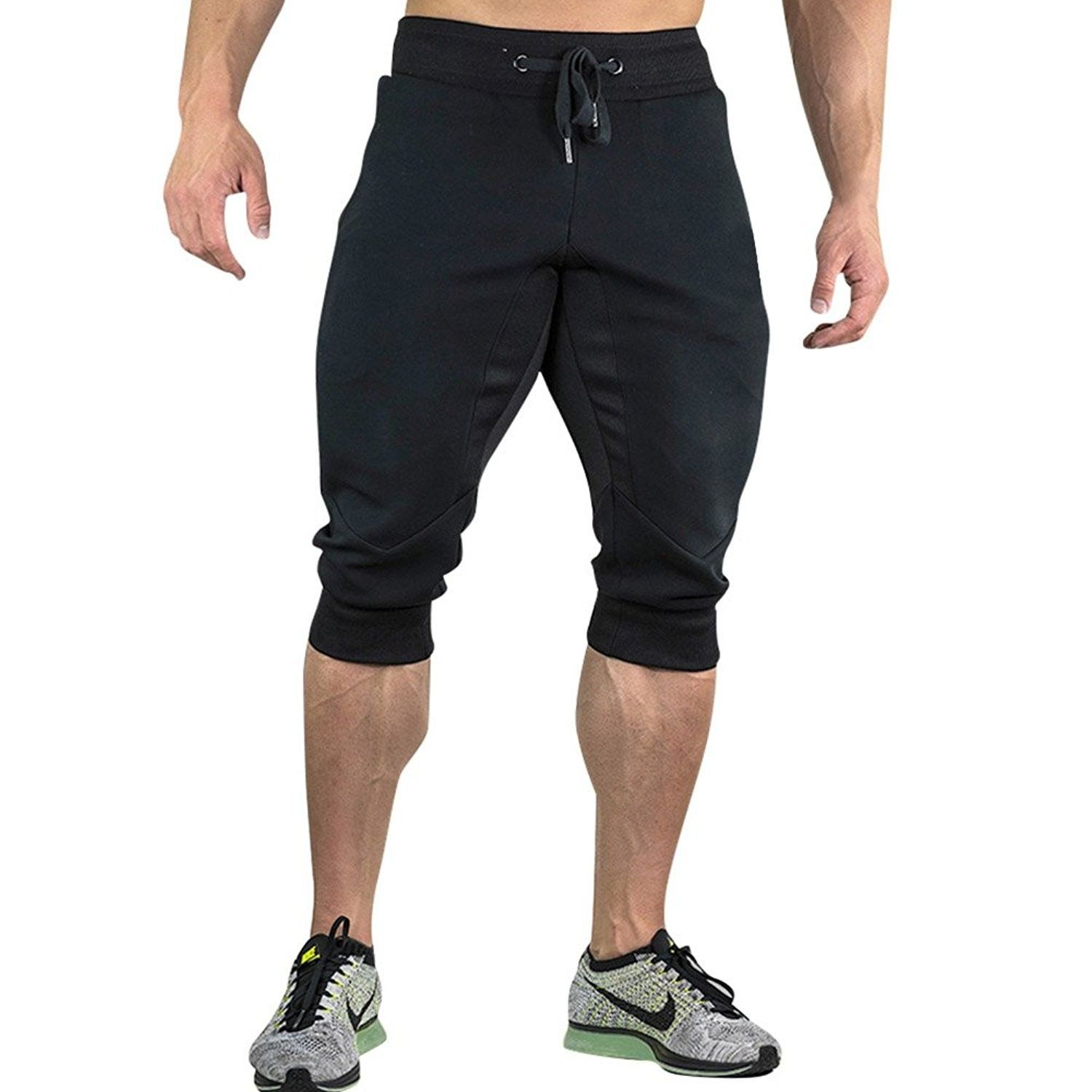 CARWORNIC Mens 3//4 Joggers Workout Pants Slim Fit Running Gym Shorts Athletic Training Capri Pants with Pockets