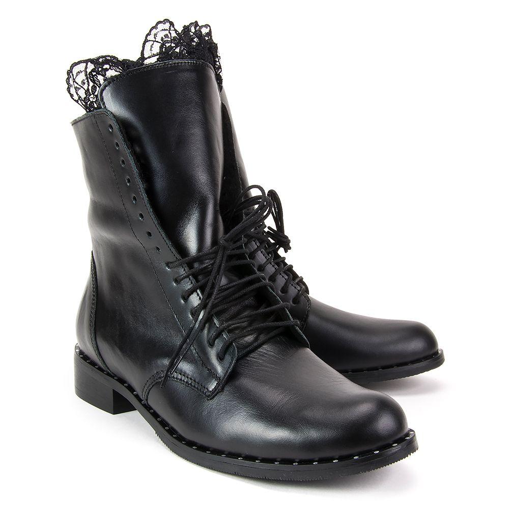 Botki Filippo 2193 Czarne Botki Na Plaskim Obcasie Botki Na Obcasie Botki Buty Damskie Filippo Pl Combat Boots Shoes Boots