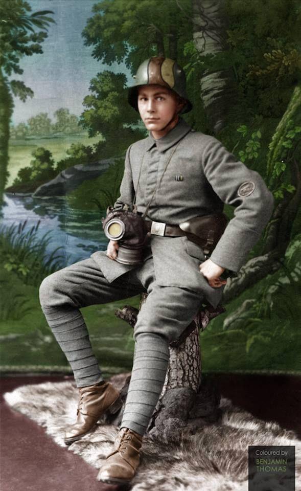 late WWI German machine gunner August Brechtel, colorized by Benjamin Thomas.