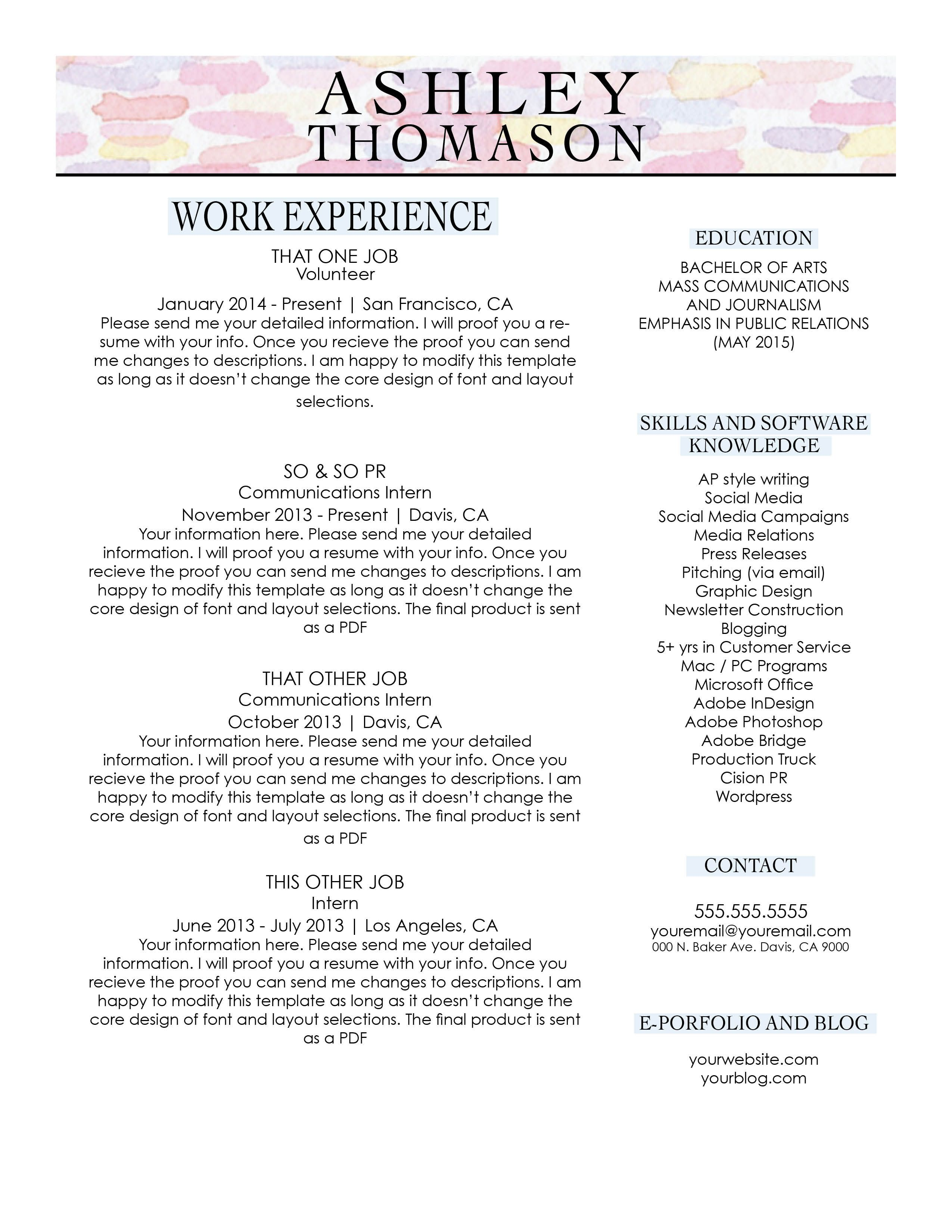 Custom Resume Design By Resumaker On Etsy EstyComShop