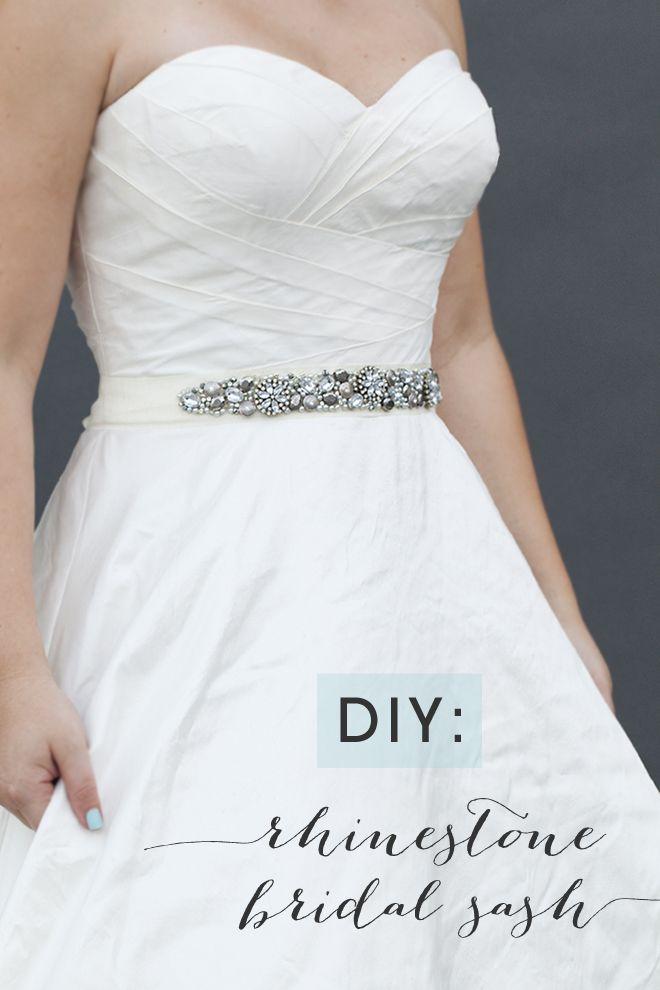 Learn how to make this chic DIY rhinestone bridal sash