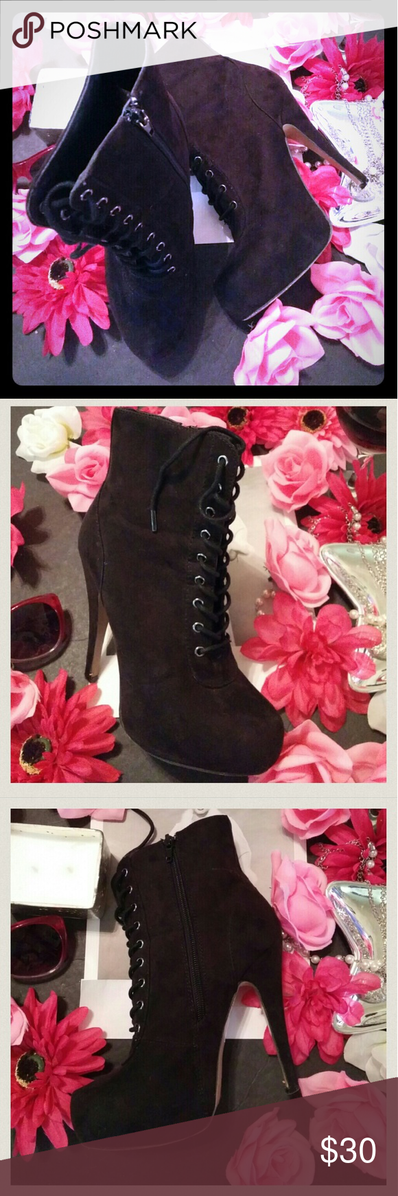 Forever 21 black ankle boots Forever 21 black ankle boots size 7 with 5inch heel. They have zip size and lace front with almond pointed toe. Suede like material. Very hot and stylish! They are used, but great condtion. Spots on back of both shoes see 4th pic. The white spot in seam doesn't look as bad as pic. thanks for looking! Forever 21 Shoes Ankle Boots & Booties