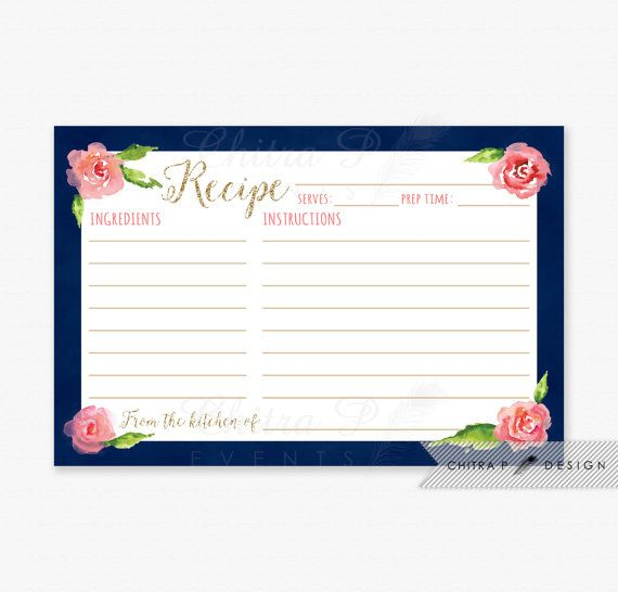 Navy & Pink Recipe Cards - Printed or Printable, Watercolor Rose Floral Modern Bridal Shower kitchen Tea Blue Gold Glitter Brunch - chitrap.etsy.com