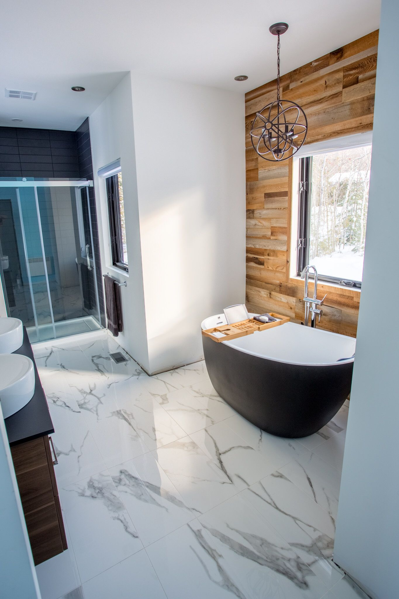Black Bath Barn Wood Black Ceramic Shower And Imitation Of White