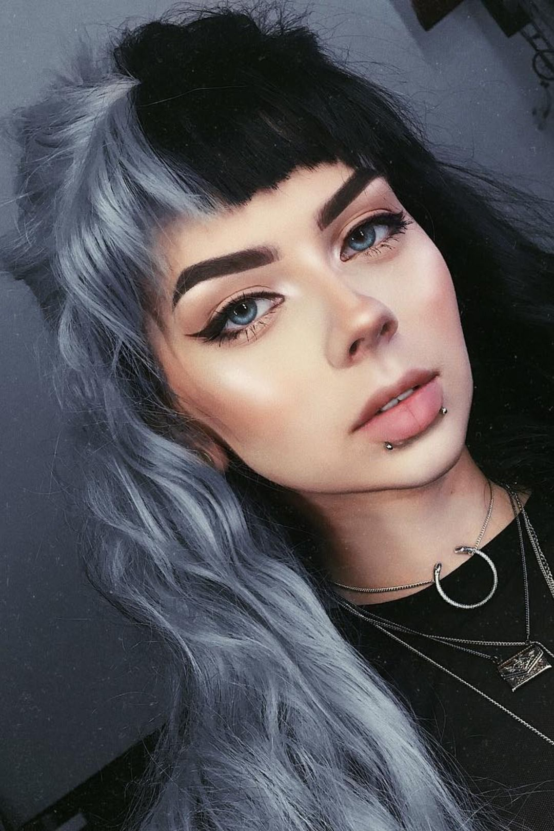 Half Black And Half Grey Water Wavy Quite Long Synthetic Lace Front Wig Split Dyed Hair Hair Inspo Color Hair Styles