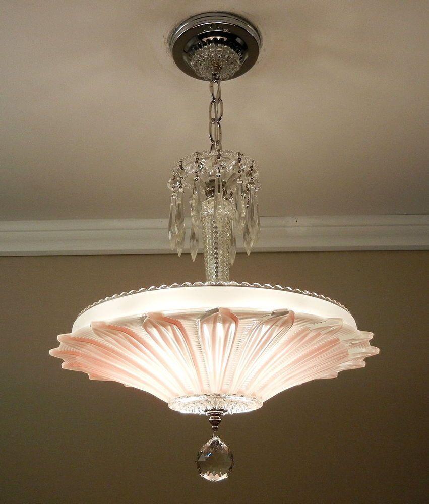 vintage art deco sunflower chandelier 1940s chrome glass. Black Bedroom Furniture Sets. Home Design Ideas