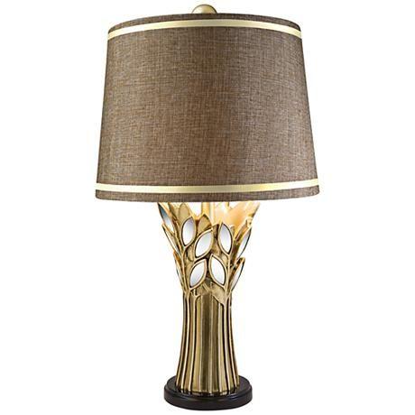 Gaia Brushed Gold Table Lamp 7c359 Lamps Plus Lamp Table Lamp Gold Table Lamp