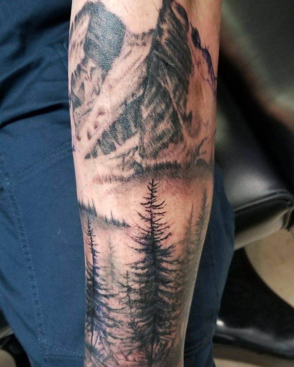Mountain And Forest Tattoo Moutain Tattoos Tattoos For - Wald Tattoo