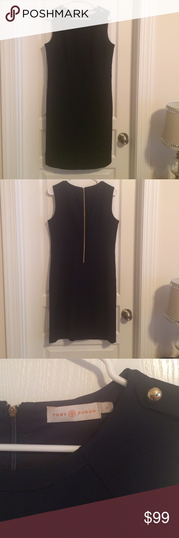 Classic Navy Tory Burch dress Classic Tory Burch dress with gold accents and back zipper. A favorite for your closet! Tory Burch Dresses