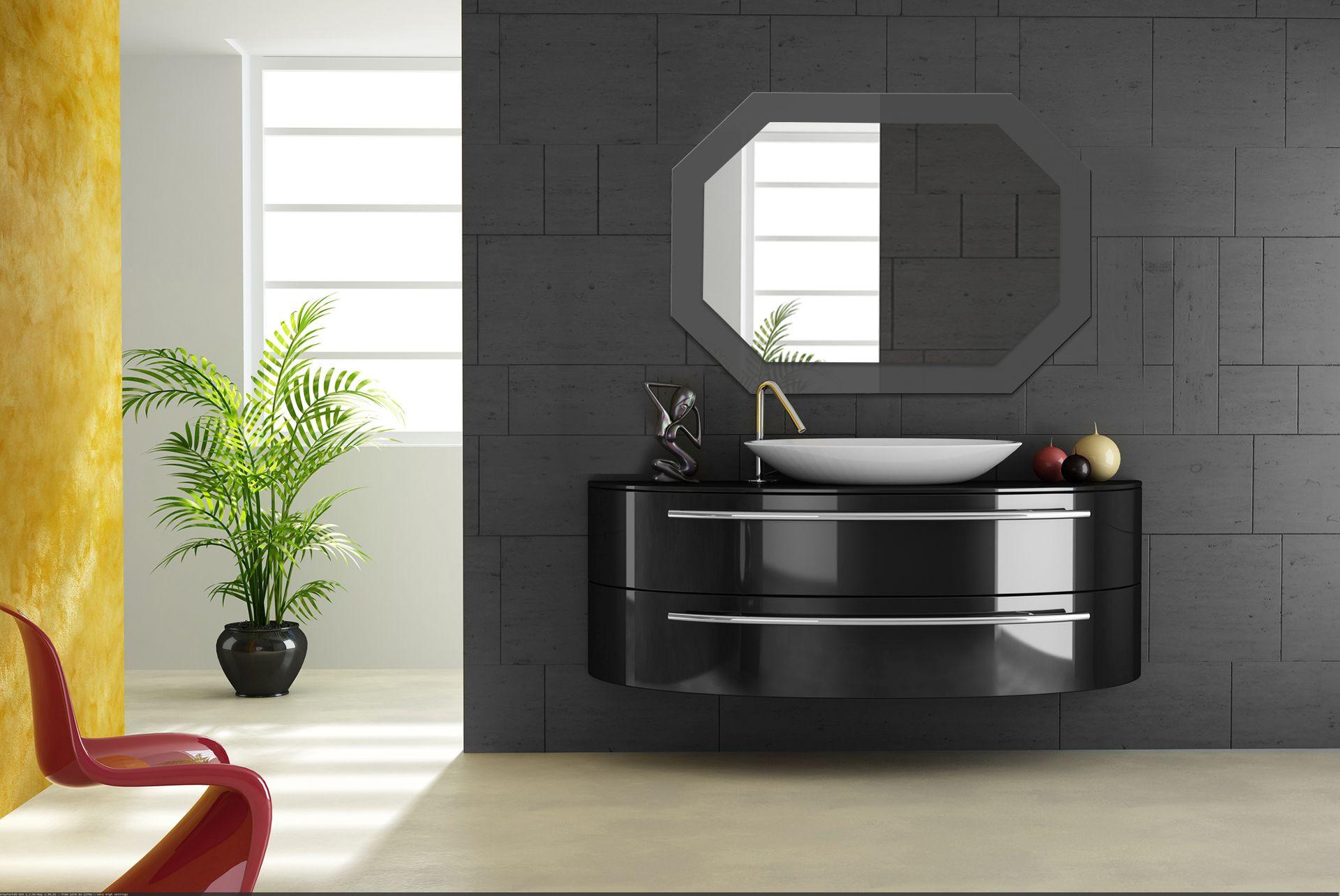 Graphite gray octahedron wall mirror for bathroom