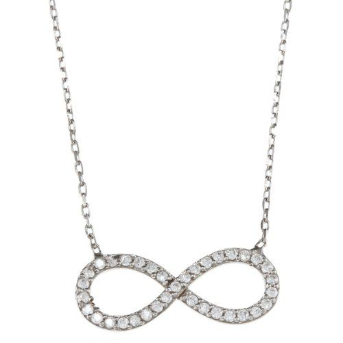 Sterling Silver 16  2 extension CZ Infinity Figure 8 Necklace * Click image for more details. Note: It's an affiliate link to Amazon.