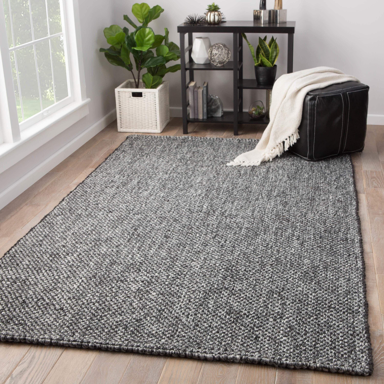 Juniper Home Hyde Handmade Solid Black Grey Jute And Wool Area Rug