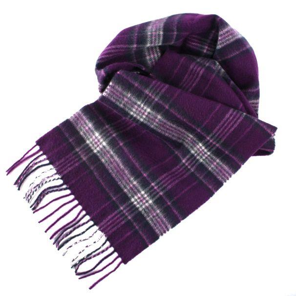 ed5be8c0b dark purple mix tartan cashmere scarf. | Check pattern scarf ...