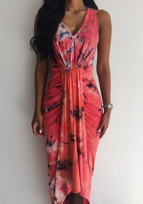 816deb6473d Red Floral Print Irregular Asymmetric Pleated V-neck Sleeveless Slim Sexy  Maxi Dress