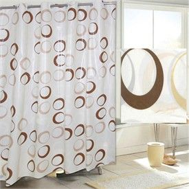 Brown Circles Ez On Hookless Fabric Shower Curtain Hookless Shower Curtain Fabric Shower Curtains Curtains