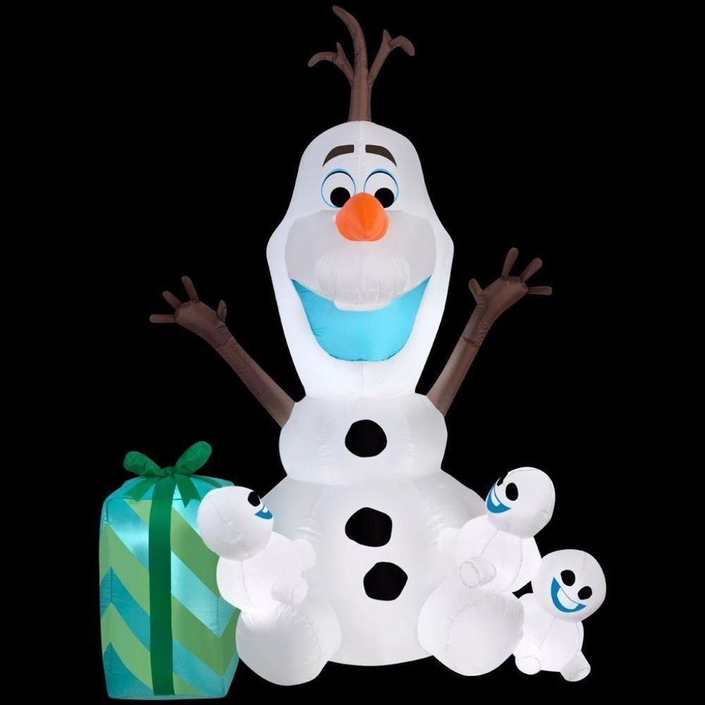 Adorable Inflatable Olaf with Snowgies Disney Scene Lights Up ...