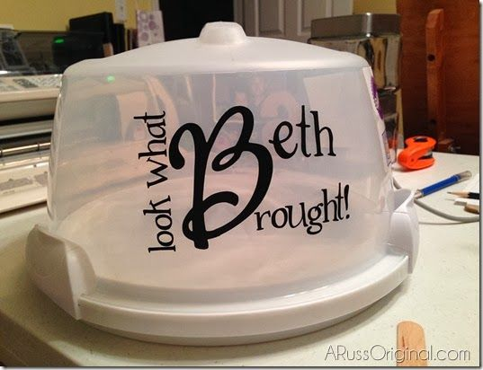 my amazing Cricut! personalized cake carrier   Silhouette