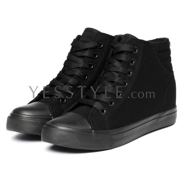Canvas Sneakers ($35) ❤ liked on Polyvore featuring shoes, sneakers, shoes/boots, canvas shoes, hi tops, high top canvas shoes, black canvas shoes and black canvas sneakers