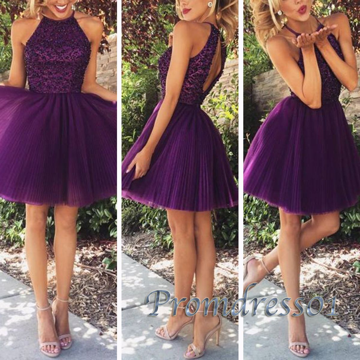 Prom dresses short, maxi dress 2016, Cute purple tulle beaded round neck short party dress for teens https://www.promdress01.com/#!product/prd1/4285349235/cute-purple-tulle-bead-round-neck-short-prom-dress